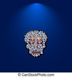 drogocenny, czaszka, 6, kamienie