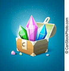 drogocenny, kryształy, kamień, magia, skrzynia