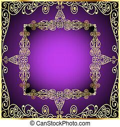 drogocenny, złoty, tło, kamienie, purpurowy, ozdoba