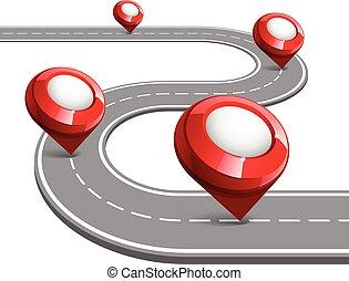 drogowa mapa, dla, handlowy, infographic.