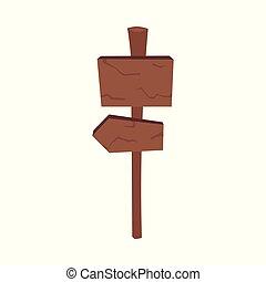 drogowskaz, -, skrzyżowanie dróg, kierunek, biały, strzała, tło, odizolowany, wskazówka, drewniany