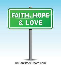 drogowskaz, wektor, miłość, nadzieja, wiara