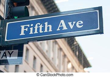 drogowskaz, z, piąta aleja, w, nowy york