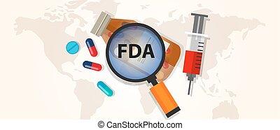 drogue, approbation, nourriture, pharmacie, santé, ...