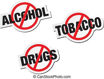 drogues, autocollant, signes