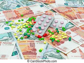 drogues, billets banque, monde médical, fond