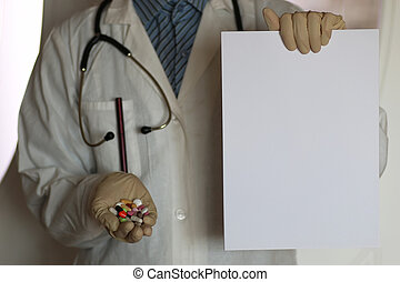 drogues, dans, docteur, main