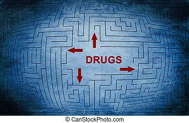 drogues, labyrinthe, concept