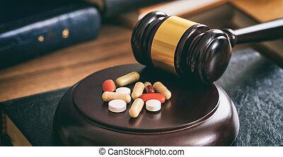 drogues, marteau, juge, bureau bois