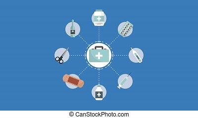 drogues, monde médical, animation, stockage, kit