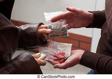 drogues, négociant médicament, offrande