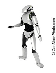 Droid - 3D digital render of a droid isolated on white...