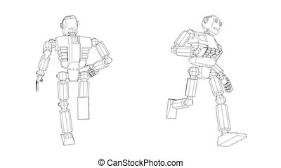 Droid cyborg robot is running. Rear view and perspective. 3d...