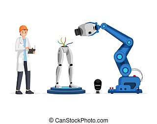 Droid engineering process flat vector illustration. Smiling scientist in hard hat holding controller device cartoon character. Industrial robot arm assembling futuristic cyborg