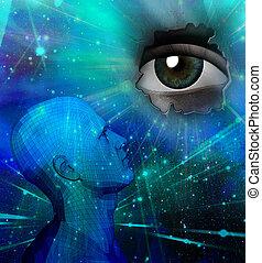 Droid thinking - Droid head. Big eye. 3D rendering