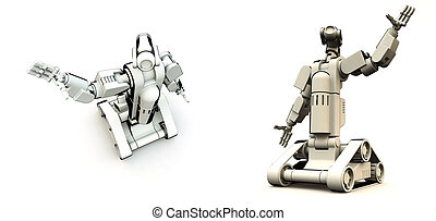 Droids Of The Future  - A pair of futuristic robots.