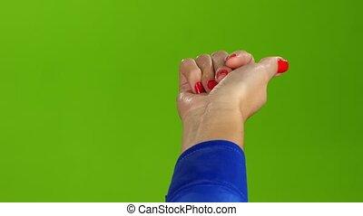 droit, écran, me., main, vert, venir, geste