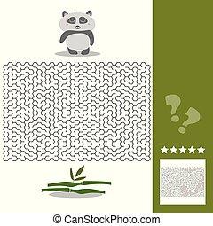 droit, aide, -, affamé, solution, panda, jeu, sien, manière, labyrinthe, bambou, trouver