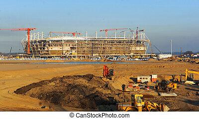droit, bâtiment, complexe, rayons, stade, sport, construction, conception