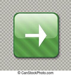 droit, button., illustration, vecteur, vert, lustré, flèche, icon.