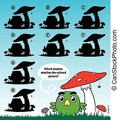 droit, champignon, oiseau, sous, ombre, assorti