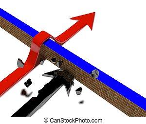droit, choisir, déviation, coupure, barrières, obstacle., sentier