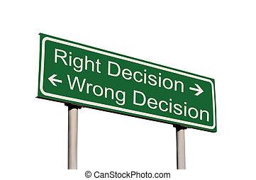 droit, décision, isolé, signe, mal, route