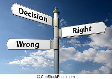 droit, décision, signe, mal, poste, ou