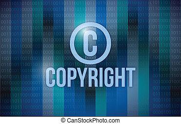 droit d'auteur, et, binaire, illustration, conception