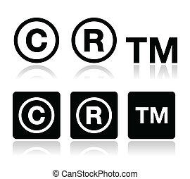 droit d'auteur, marque déposée, vecteur, icônes