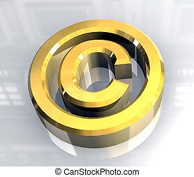 droit d'auteur, or, symbole, (3d)