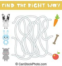 droit, enfants, illustration, animals., jeu, vecteur, way., dessin animé, trouver