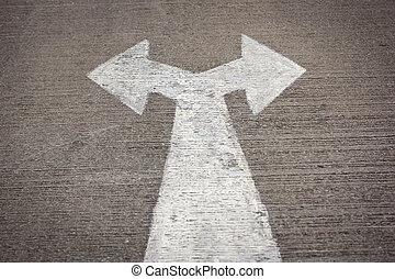 droit, gauche, panneaux signalisations