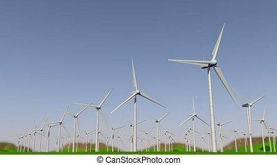 droit, groupe, ferme, former, turbines, vert, day., champ, appareil photo, par, gauche, devant, pendant, mouvement, animation, vent, 3d
