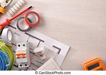 droit, installation, logement, équipement, électrique, vide, table