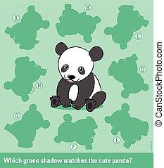 droit, jeune, ours, assorti, panda, ombre, dessin animé
