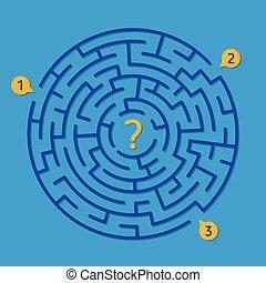 droit, labyrinthe, jeu, rond, manière, labyrinthe, trouver