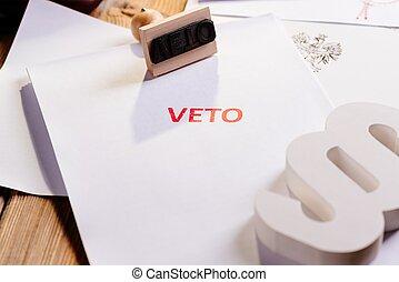droit & loi, acte, à, rouges, veto, stamp.
