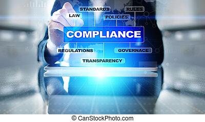 droit & loi, audit, icônes concept, conformité, text., screen., virtuel, diagramme, règlements, normes, exigences