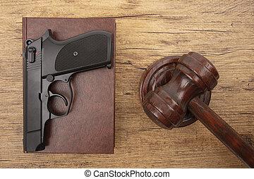 droit & loi, code, pistolet, noir