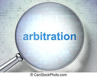 droit & loi, concept:, arbitrage, à, optique, verre
