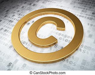 droit & loi, concept:, doré, droit d'auteur, sur, arrière-plan numérique