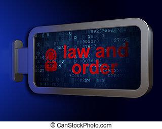 droit & loi, concept:, droit & loi, et, ordre, et, juge, sur, panneau affichage, fond