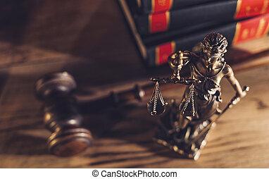 droit & loi, concept, justice, conseil, courtroom., statue, marteau, image