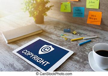 droit & loi, concept., property., intellectuel, brevet, droit d'auteur, affaires internet, screen., icône, technologie