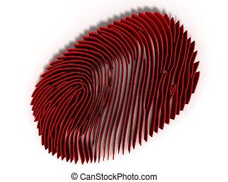 droit & loi, concept, render, étude, verre, empreinte doigt, criminel, criminologie, magnifier, 3d