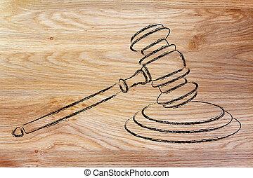 droit & loi, et, courts:, juges, marteau, illustration