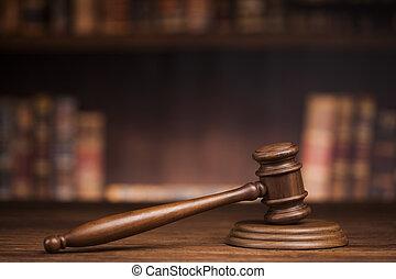 droit & loi, et, justice, concept, brun, bois, fond
