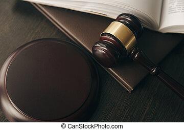 droit & loi, et, justice, concept., brun, bois, fond