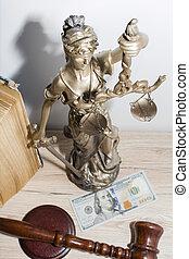 droit & loi, et, justice, concept., maillet, de, les, juge, livres, balances, de, justice.